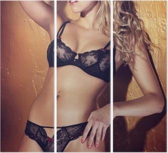1fde422dba2 Obraz na plátně Atraktivní blondýnka pózuje v černé spodní prádlo. •  Pixers® • Žijeme pro změnu