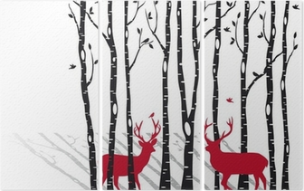 Triptych Břízy s vánoční jelenů, vektor