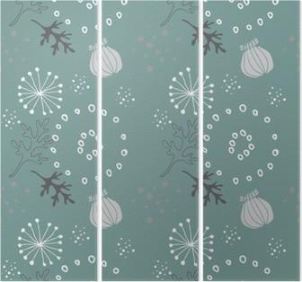 Triptych Modrá květinovým vzorem,