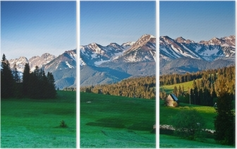 Triptyk Polska Tatrabergen panoram på morgonen