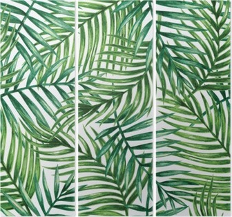 Triptyk Watercolor tropical palm leaves seamless pattern. Vector illustration.