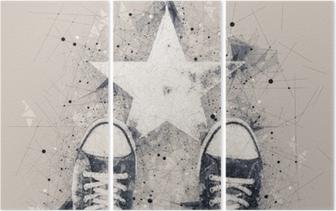 Ung person på vej med stjerne form aftryk Triptykon
