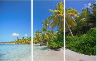 Triptyque Caraïbes plage de sable avec des palmiers en République Dominicaine