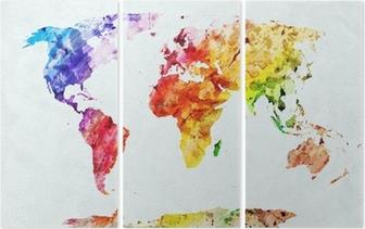 Triptyque Carte du monde aquarelle