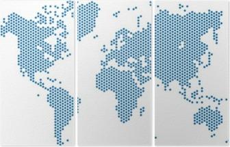 Triptyque Carte du monde Dots sur fond blanc, illustration vectorielle.