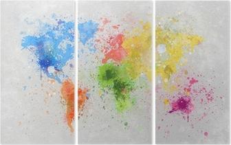 Triptyque Carte du monde peinture