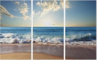 Triptyque Coucher de soleil à la plage