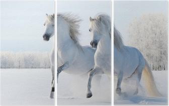 Triptyque Deux chevaux blancs galopant dans la neige