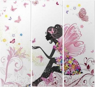 Triptyque Fée Fleur dans l'environnement de papillons