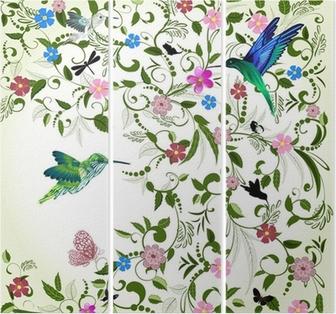 Triptyque Fond floral avec un oiseau