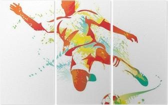 Triptyque Football joueur botte le ballon. Vector illustration.