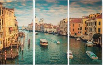 Triptyque Grand Canal à Venise, Italie. Filtre couleur appliquée.