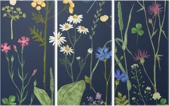 Triptyque Hand Drawn réglé avec des herbes et des fleurs