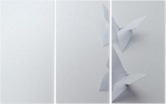 Triptyque Papillons origami sur fond blanc