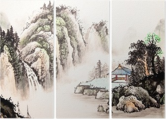 Triptyque Paysage chinois aquarelle painting__
