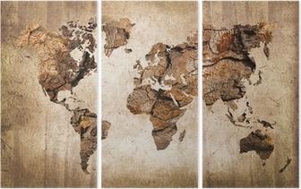 Trittico Legno mappa del mondo, texture vintage