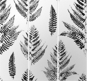 Trittico Seamless pattern con stampe vernice di foglie di felce
