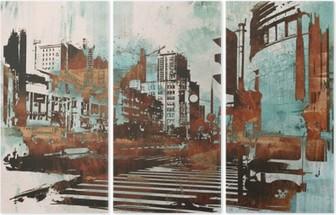 Tryptyk Cityscape z abstrakcyjnego grunge, ilustracja malarstwo