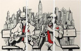 Tryptyk Dwaj mężczyźni jazzowych grających w Nowym Jorku