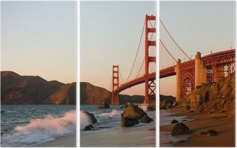 Tryptyk Golden Gate Bridge w San Francisco o zachodzie słońca