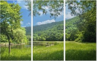 Tryptyk Latem krajobraz z rzeki i niebieskiego nieba