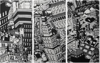 Tryptyk Miasto, ilustracja dużego kolażu, z domami, samochodami i ludźmi