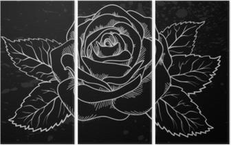 Tryptyk Piękny biały kontur róży z szarymi plamami na czarnym tle