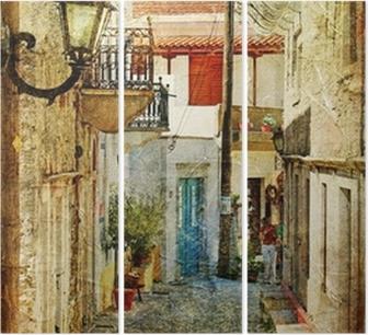 Tryptyk Stare greckie ulice-artystyczny obraz