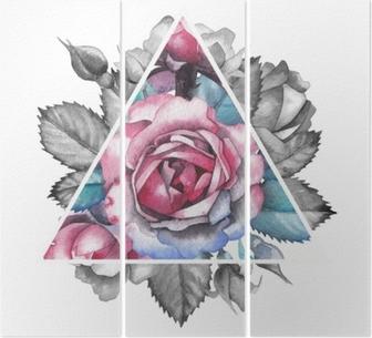 Tryptyk Winieta z różą akwarelową