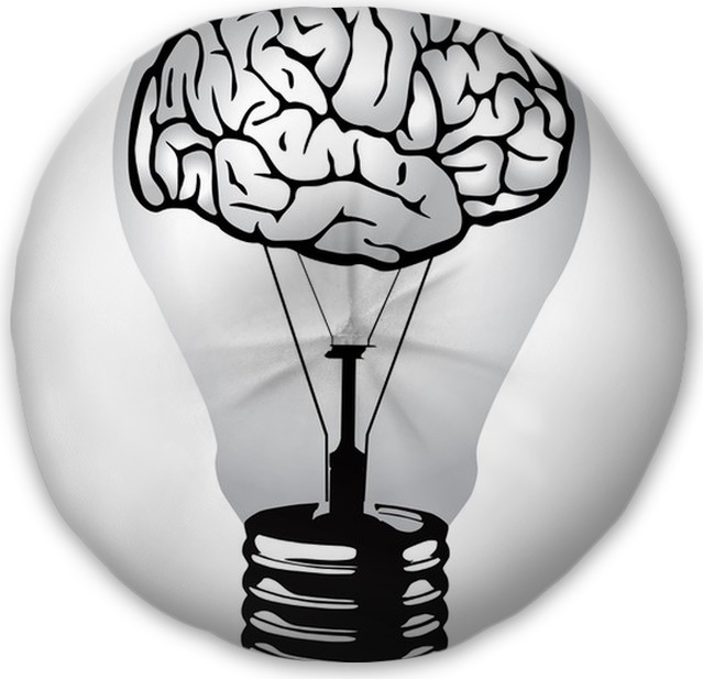 Brain Light Bulb Vector Tufted Floor Pillow   Round