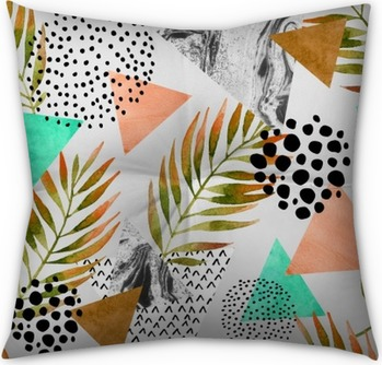 Abstract summer geometric seamless pattern Tufted Floor Pillow - Square
