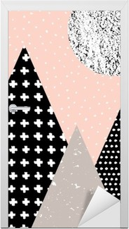 Türaufkleber Abstrakte geometrische Landschaft