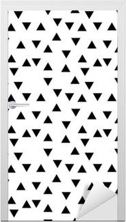 Türaufkleber Abstrakte geometrische schwarze und weiße Hipster Mode Zufallsdreiecksmuster