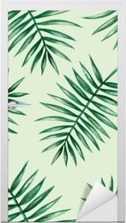 Türaufkleber Aquarell tropische Palmen Blätter nahtlose Muster. Vektor-Illustration.