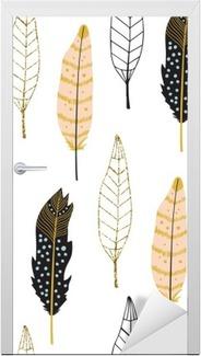 Türaufkleber Hand gezeichnete Federn nahtlose Muster