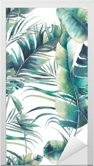 Türaufkleber Nahtloses Muster der SommerPalme und der Bananenblätter. Aquarell Textur mit grünen Zweigen auf weißem Hintergrund. Hand gezeichnet tropischen Tapeten Design