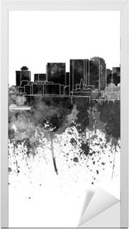 Türaufkleber Nashville Skyline in schwarz Aquarell auf weißem Hintergrund