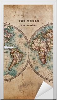 Türaufkleber Old World Map in Hemispheres