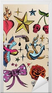 Türaufkleber Rockabilly Tattoo vorlagen farbig