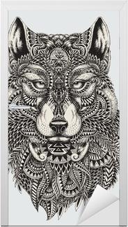 Türaufkleber Sehr detaillierte abstrakte Wolf illustration
