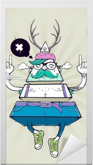 Türaufkleber Triangle hipster bizarre Charakter