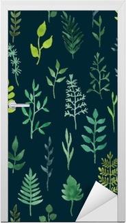 Türaufkleber Vector grün Aquarell floral nahtlose Muster.