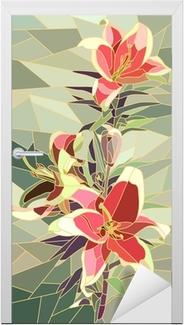 Türaufkleber Vektor-Illustration von Blumen rosa Lilie.