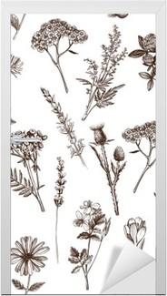 Türaufkleber Vektor nahtlose Muster mit Tinte Hand Heilkräuter Skizze gezeichnet