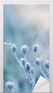 Türaufkleber Zusammenfassung natürlichen Hintergrund von gefrorenen Anlage mit Raureif oder Raureif