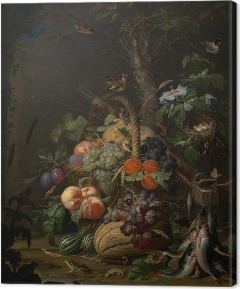 Tuval Baskı Abraham Mignon - Still Life with Fruit, Fish and a Nest - Abraham Mignon