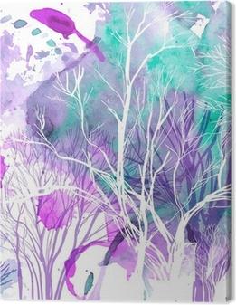 Tuval Baskı Ağaçların soyut siluet