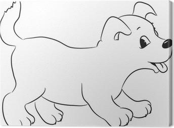 Anahatlı Sevimli Karikatür Köpek Vektör çizim Cam Ve Pencere