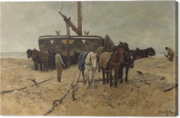 Tuval Baskı Anton Mauve - Barco de Pesca na Praia - Reproductions