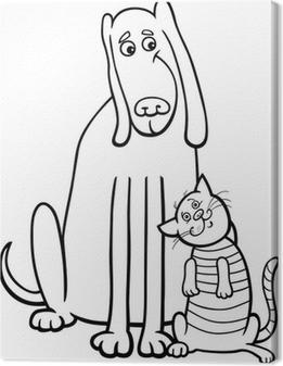 Boyama Kitabi Icin Kedi Ve Kopek Karikatur Tuval Baski Pixers